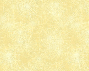 Cream Spider Web Fabric Yardage. Come Sit a Spell Wilmington Prints. Halloween Fabric. Holiday Fabric. Halloween Quilt Fabric. Holiday Decor
