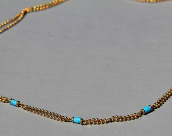 natural turquoise necklace, and 18 micron gold plated chains
