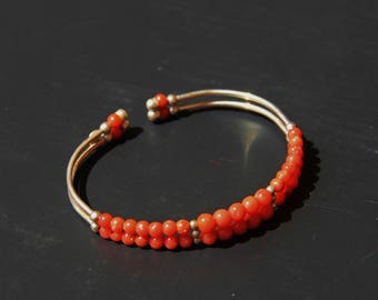 genuine red coral and silver, handmade