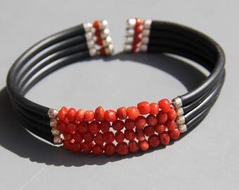 Men's bracelet made of genuine red coral from Corsica bh76