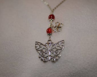 Silver Butterfly Necklace and red beads