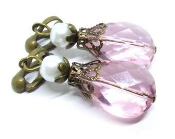 Light Pink Glass Drops Antique Brass Clip-On Earrings - Non-Pierced Ears