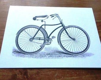 Black and white ' bike' greeting card handmade 21cm x 15cm