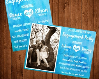 Watercolor Engagement Party Invite With Photo or Without!  (Printable, Blue, Aqua, Beach, Watercolor)