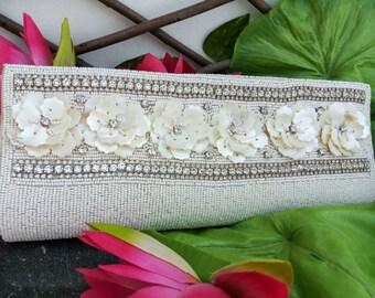 Ivory Bridal Clutch Purse Handmade sea shell Wedding Clutch, Beaded Evening art deco, Prom Party Clutch Bag, Vintage Purse bag Artcraving