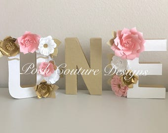 Unicorn Floral Letters/ ONE Letters/ Floral First Birthday/ Boho First Birthday/ ONE Photo Prop/ Floral Letters/ Pink Gold First Birthday