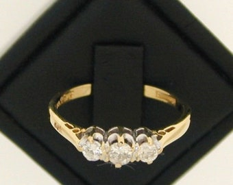 Trilogy 18ct Yellow Gold 0.25cts Diamond Trilogy Ring size L