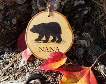 Bear ornament, Nana, wood ornament, Birch, tree, Christmas ornament, holiday decorations, ornament, new hampshire , woodland,rustic