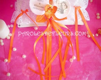Cabaret orange Orchid garter to be personalized