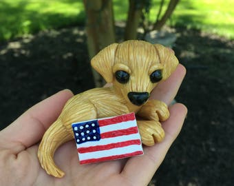 Golden Retriever with American Flag