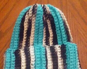 Zebra Messy bun / Ponytail hat. Hand crocheted stocking hat. Not a beanie!!! Very good handmade quality hat! USA
