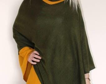 Green poncho, Knit poncho, sweater wrap, wool scarf, women sweater, wool cape, wool sweater, knit cape,knit scarf,knit sweater,women fashion