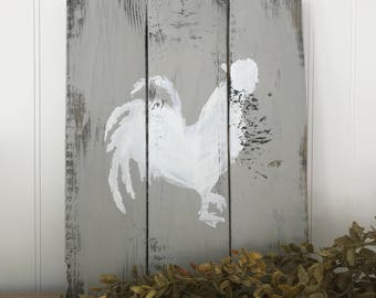 Chicken Sign. Wood Sign. Gray Painted Sign. Chicken Silhouette Sign. Chicken Decor.  Fixer Upper Style. Farmhouse Decor.
