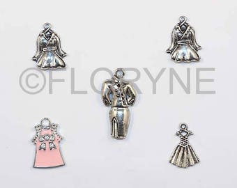 Set of 5 Silver Metal charms: Dress, suit, coat