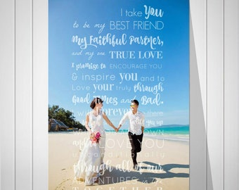 Wedding Anniversary Gift, Custom Photo Art, Vow Song Art Print Gift from Wife, Wedding Gift for Dad, Gift for Mom, Art Print or Canvas-48677
