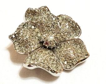 Jomaz Pave Rhinestone Brooch, Encrusted Floral Brooch, 1950s, Hollywood Regency, 3D Flower Pin, Wedding Jewelry, Vintage Jewelry