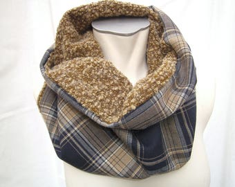 Scarf, curry hooded Scarf - Scarf for Women and Men - Woolscarf - checkered Loop - handmade Scarf