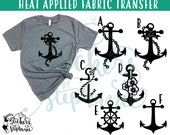 IRON ON v28 Anchor Anchor's Nautical Heat Applied T-Shirt Fabric Transfer Decal *Color Choice in Notes or BLACK Vinyl 113 Color Options