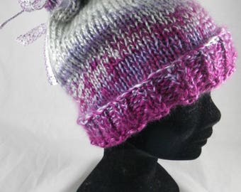 BonnetF005 - Heather Hat pink / gray and Ribbon