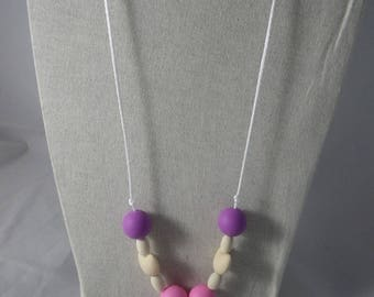 CollierPA023 - Babywearing necklace / nursing purple and pink