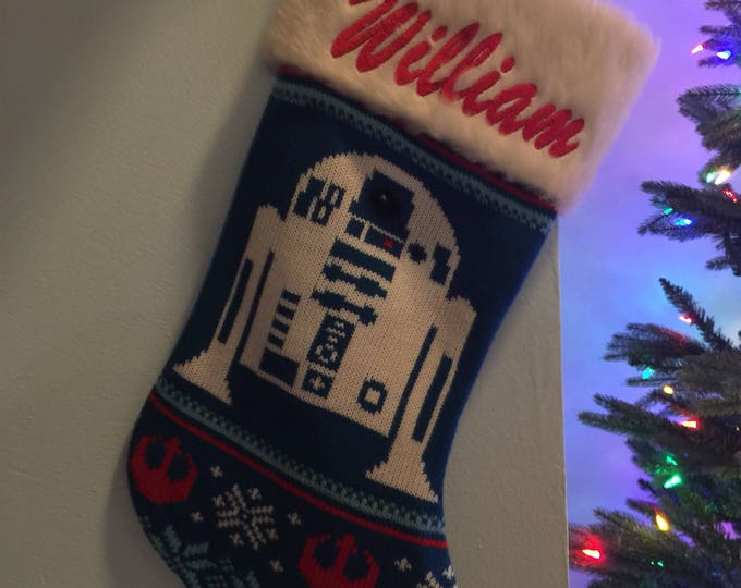 """Star Wars R2D2 Robot Stocking 20"""" knit Christmas Stocking with plush cuff - Personalized"""