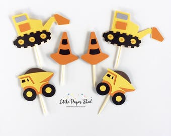 Handmade Cupcake Toppers - Construction Digger Theme x12