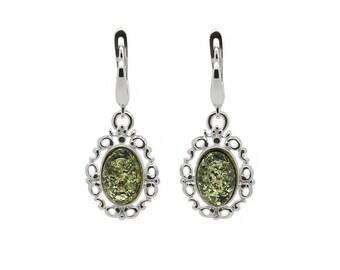 Filigree Earrings - Statement Earrings - Amber Dangle Earrings - Dainty Earrings - Silver Filigree Earrings - Gemstone Earrings -206EAS1g