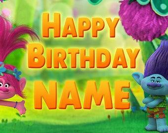 Trolls Custom Birthday Banner (POPPY & BRANCH)