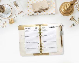 Personal 2018 Weekly Horizontal printed planner calendar - Wo2P - week on 2 page - week layout - Monday Start