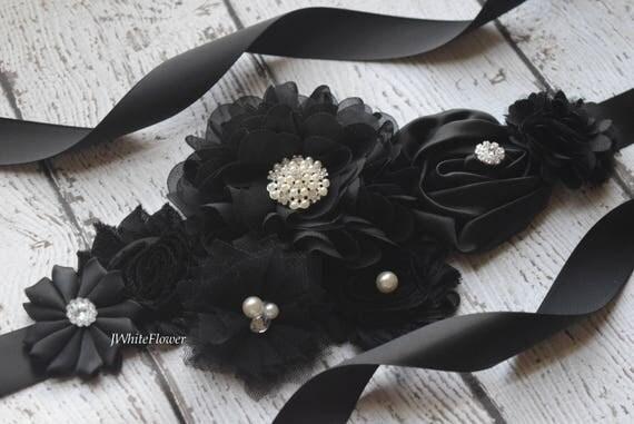 Flower Sash,  black Sash , flower Belt, maternity sash, wedding sash, maternity sash girl, flower girl sash