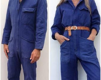 1970s vintage overall French workwear / bleu de travail / indigo / mechanic / vintage workwear / sanforized jumpsuit