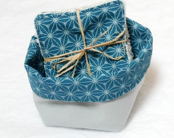 Cleansing washable cottons with reversible basket - bamboo wipes - wipes organic