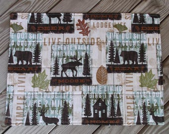 Beige cabin placemats, lodge placemats, fabric placemats, quilted placemats, handmade placemats, table decor, set of 4