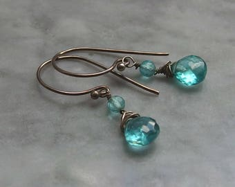 tiny apatite earrings blue cool petite Bali sterling silver Boho petite dainty granulated drop dangle sparkle pool azure gemstone AAA