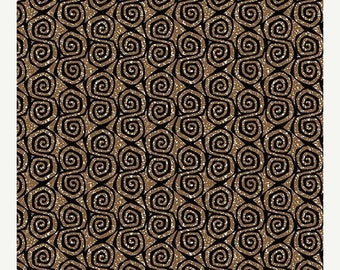 AUG10 Sgraffito Lino Scroll Clay  By ELISE K-By the Yard Item # 10104-77