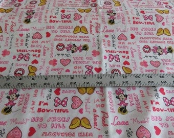 Minnie Mouse cotton fabric - Minnie Set Words - Disney for Springs - sold by the yard
