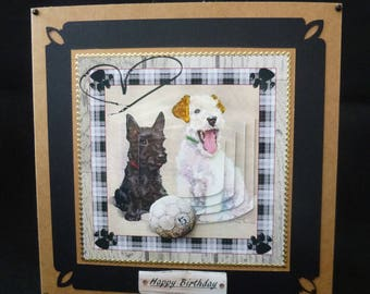Dogs & Football Card, Dog Birthday Card, 3d Decoupage Card, Handmade in UK, Father's Day Card, Male Birthday Card, Thank You Card,