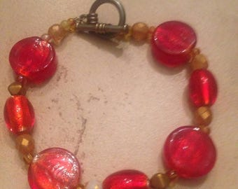 SALE Vintage Red Bracelet Glass Beads Costume Jewelry