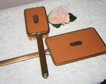 Vintage Hand Held Mirror and Brush Vanity Set, Gold Tone