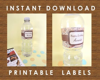 Travel Theme Water Bottle Labels / Vintage Map / Printable PDF / Wedding / Birthday / Bridal Shower / Editable Instant Download