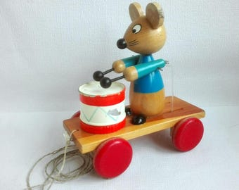 Vintage Wooden Pull Toy, Mouse with Drums, 1960/1970's