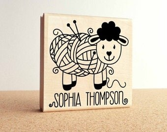"BACK TO SCHOOL Sale Large 3x3"" Personalized Knitting Rubber Stamp, Custom Handmade Knitting Label Stamp"