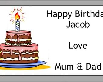 Personalised Birthday Cake Self Adhesive Labels x 24