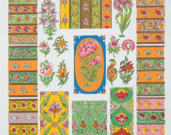 Owen Jones - The Grammar of Ornament - Stunning 1800s Lithograph - Persian Iran Art (P47)