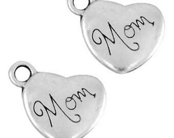 """DQ Metal pendant, charm """"Mom""""-1 piece-Zamak-color selectable (colour: silver)"""