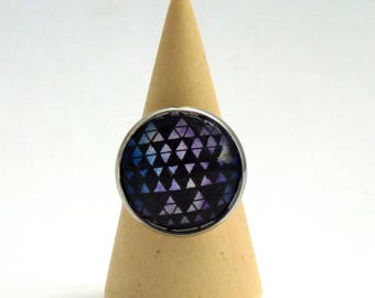 Triangular ring, hipster ring, abstract ring, original hand-painted ring, glass lens ring, landscape ring, Wear a painting!