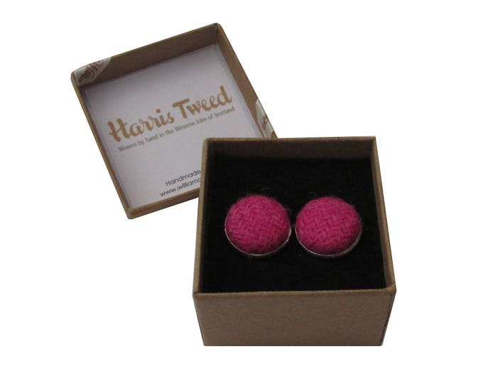 Harris Tweed Bright Fuchsia Pink Handmade Boxed Cufflinks