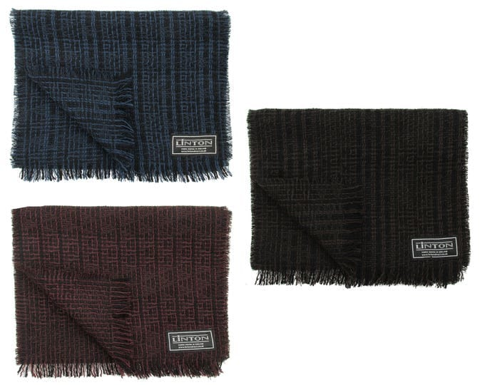 Linton Tweed Black & Brown, Blue or Deep Red Fringed Scarf