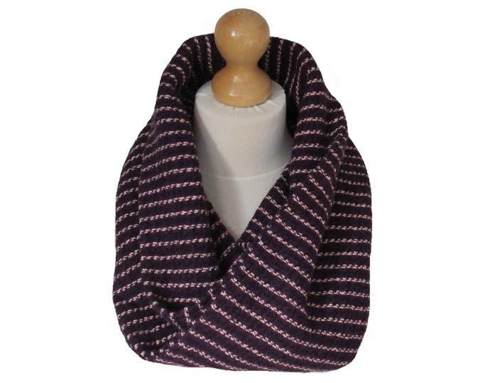 Linton Tweed Designer Cowl Neck Infinity Scarf in Purple Shades