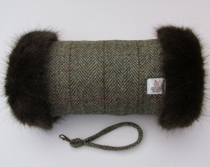 Harris Tweed Green & Fawn Herringbone Hand Muff with Chocolate Brown Faux Fur Trim